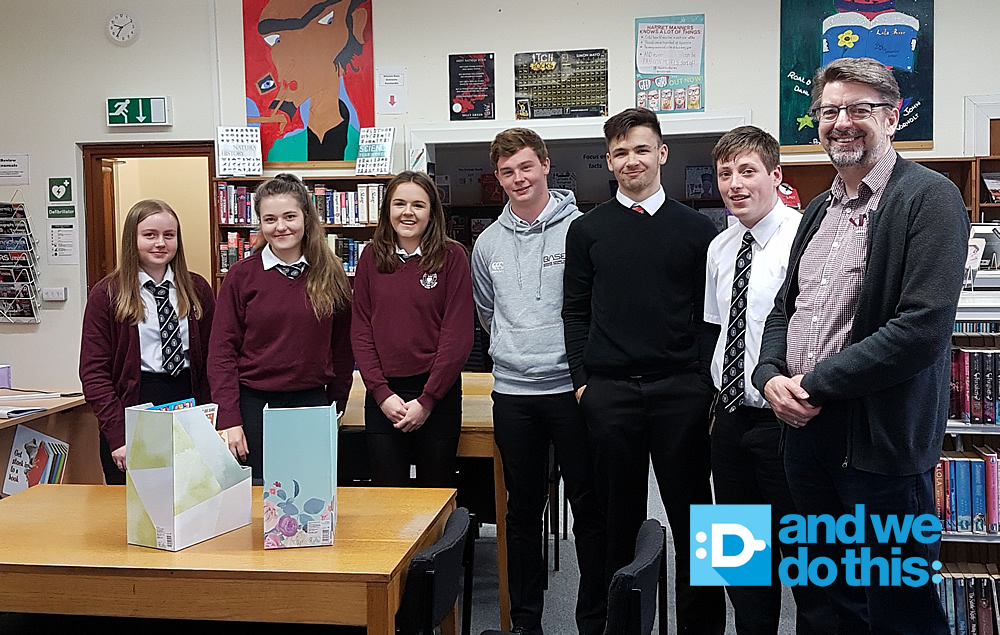The Kelso High School Young Enterprise Scotland 2017 team, with their Business Adviser Andrew McEwan
